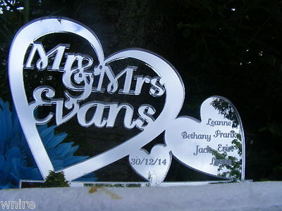 Our New Family Personalized Hearts Wedding/Anniversary Cake Topper