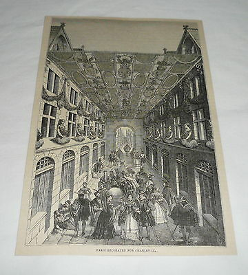 1879 magazine engraving ~ PARIS DECORATED FOR CHARLES IX