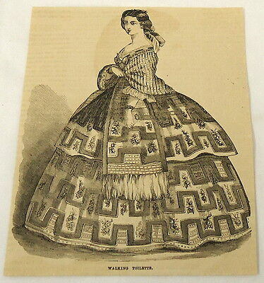 1859 magazine engraving ~ WALKING TOILETTE Victorian Fashion