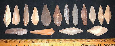 "(16) Fine Morocco Mesolithic Points (1.5""-1.75"") Prehistoric African Arrowheads"