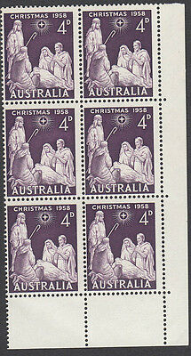 Stamps Australia 4d Christmas 1958 block 6 varieties spot on shoulder in strip