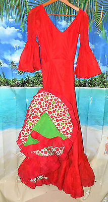 Vtg 60s Professional Toledo FLAMENCO Skirt+Top (Leotard) Red w/Polka Dot Ruffles