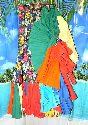 Vtg 1960s Professional FLAMENCO Skirt Floral Roses w/Tons of Colorful Ruffles