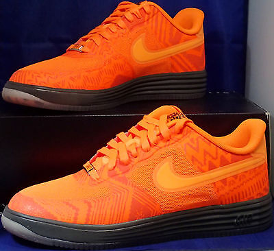 huge selection of 6bc87 63368 Nike Lunar Force 1 Fuse BHM Total Orange Pewter Brown Air SZ 11.5 ( 585714-