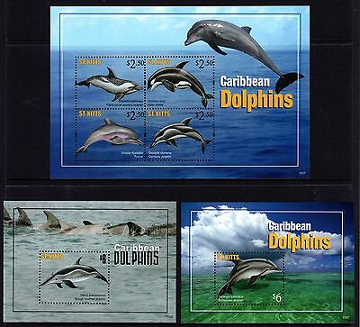St. Kitts 2013 Dolphins Sheetlet 4 + 2 M/S's MNH