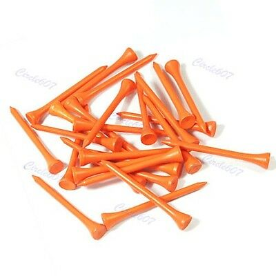 100pcs 70mm Golf Ball Wood Tee Outdoor Sports Wooden Tees Brand Orange New