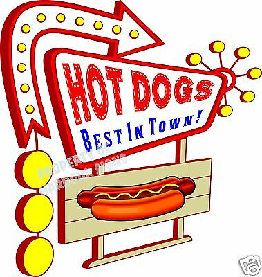 """Hot Dogs Decal 14"""" Best in Town Concession Food Truck Restaurant Vinyl Menu"""