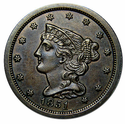 1851 Philadelphia Mint Copper Braided Head Half Cent Coin Lot# MZ 2693