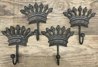 Set of 4 CROWN COAT Hat Wall HOOKS 6-1/4 cast iron Antique Vintage style