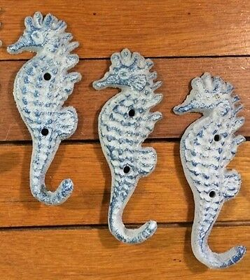 Set of 3 rustic SEAHORSE COAT Hat Wall HOOKS 5-3/8x2 cast iron nautical