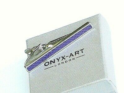 """TIE BAR-""""CLASSIC PURPLE FRONTED"""" 55mm METAL SPRING LOADED in a SLIM GIFT BOX-NEW"""