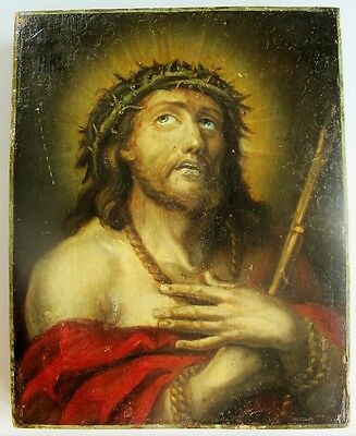 Fine Antique 19th C. RUSSIAN ORTHODOX ICON  Jesus w/ Crown of Thorns  c. 1860
