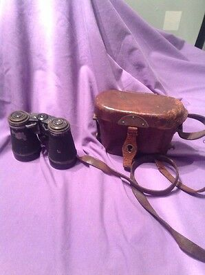 Vintage Binoculars Marked Tes With Leather Case