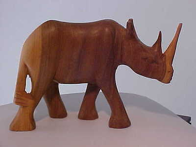 Hand Carved African Art Wooden Rhino Rhinoceros Figurine Sculpture