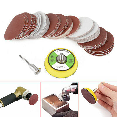 "60Pcs 2'' Sandpaper Disc + 50mm 1/4"" Hook & Loop Sanding Sander Backing Pad"