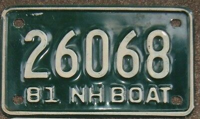 NEW HAMPSHIRE VINTAGE 1981 Motorcycle Style  BOAT  License plate   26068