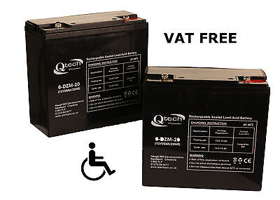MOBILITY SCOOTER BATTERY ' 2 ' Disabled Wheelchair 12V 20ah Batteries AGM GEL