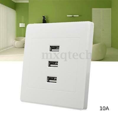 3 Ports USB 2.0 Wall Socket 10A Intelligent Charger Outlet Plate Panel 2 Screws
