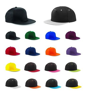 New PREMIUM Snapback Cap Black Plain Baseball Hip Hop Era Fitted Flat Peak Hat