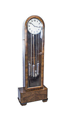 Antique Art Deco Walnut Chiming Longcase Clock c.1935