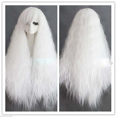 glamour white corn wave curly wig long hair costume cosplay fluffy harajuku wig