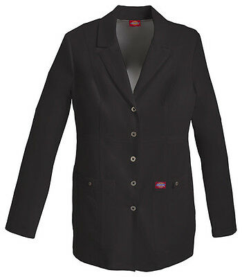"""Black Dickies Xtreme Stretch Snap Front 28"""" Lab Coat 82400 BLKZ"""