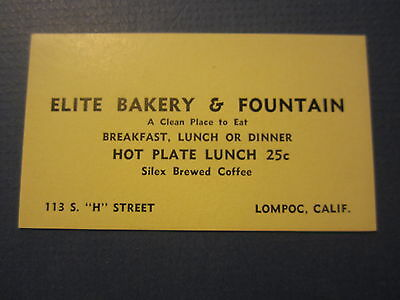 Old c.1930's - ELITE Bakery & Fountain / Restaurant BUSINESS CARD - Lompoc CA.