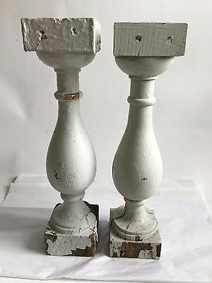"Two(2) RECLAIMED Wood SHABBY Candle Stand Gray Balusters Vintage A6 4"" x 16"""