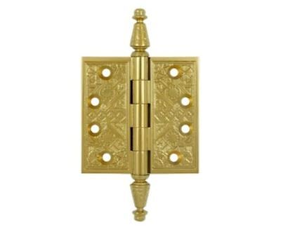 """Door Hinges 3-1/2""""x3-1/2"""" Square Corner Ornate Solid Brass in 9 Finishes By FPL"""