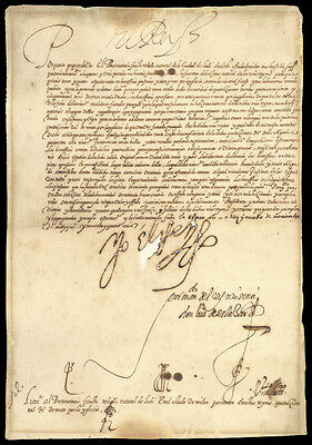 King Philip Ii (Spain) - Manuscript Document Signed 11/19/1594 With Co-Signers