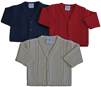 Baby boy cardigan cable Beige Navy Blue Red