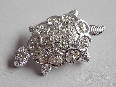 Adorable Silver Tone & Diamante Turtle Brooch