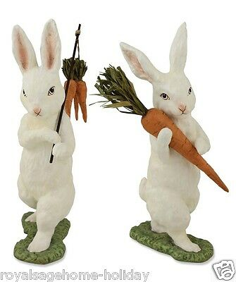 TD3006 Bethany Lowe Flocked Bunnies w/Carrots Easter Figurine Decoration Spring