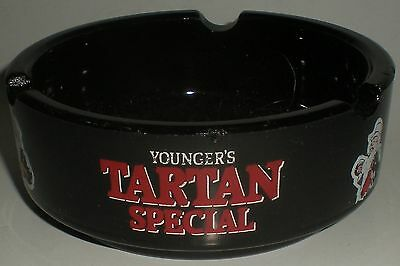 Ashtray Beer Black Glass Ashtray Younger's Tartan Special Wells Young's Brewing