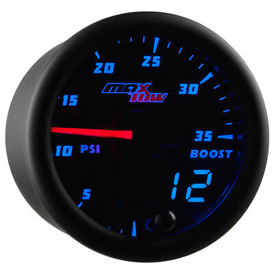 52mm Black & Blue MaxTow Double Vision 35 PSI Boost Gauge - MT-BDV01_35