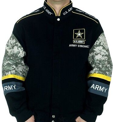 US Army Jacket Army Strong Black Twill Camo Design Embroidered Logos Adult