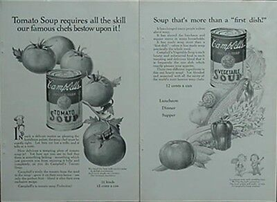 1924 CAMPBELL'S SOUP ADVERTISEMENTS (2 w/ CAMPBELL'S KIDS