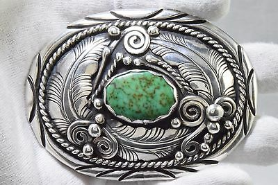 Rare Carl Begay Handmade .925 Sterling Silver Carico Lake Turquoise Belt Buckle