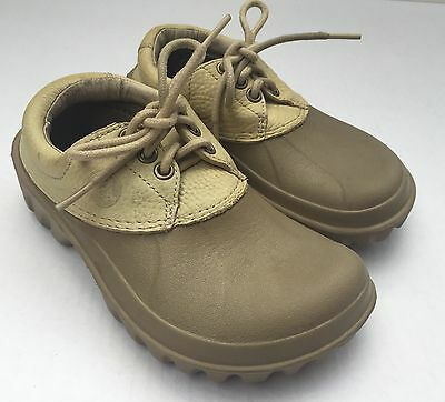 2b97a2528 Crocs Axle All Terrain Duck Shoes Lace Up Leather Khaki Tan Boys Kids Sz M 1