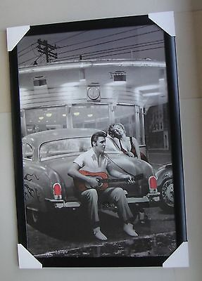 Marilyn Monroe and Elvis Framed Poster GUITAR black timber with glass CAR