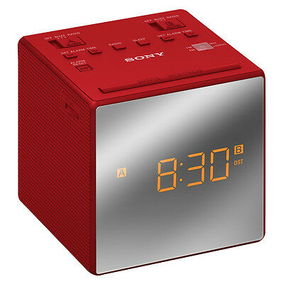 Sony ICFC1T FM/AM Dual Alarm Clock Radio with Mirror Finish - Red  New Uk