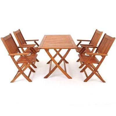 Wooden Sydney Table & Chairs Set Acacia Hardwood Foldable Garden Patio Furniture