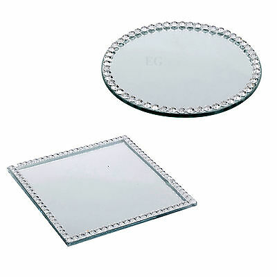 Round or Square Diamond Mirror Candle Plate Cake Stand Table Wedding Centrepiece