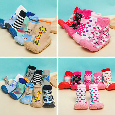 Socks Child Baby Shoes Cartoon Rubber Silicone Flooring Soles Toddler Random