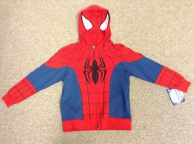 New With Tag Boys Spider-Man Hoodie Zip Up Sweatshirt Size Large 7
