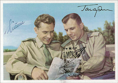 Yuri Gagarin - Picture Post Card Signed Co-Signed By: Gherman Titov