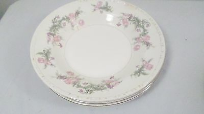 "4 Vintage Edwin M Knowles China Hostess Pink Rose 6 1/4"" Plates"
