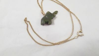 Vintage Carved Green Stone Elephant w/Trunk Up Necklace