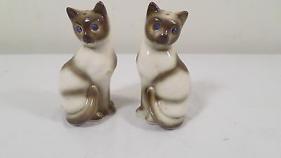 Vintage Cat Kitten Salt & Pepper Shakers w/ Blue Rhinestone Eyes Made in Japan