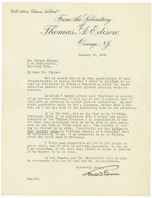 Thomas A. Edison - Typed Letter Signed 01/16/1924